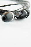 Black earphone Royalty Free Stock Photos