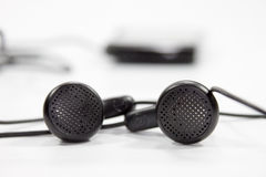 Black earphones Stock Image