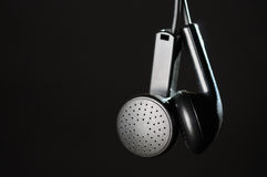 Black earphones Royalty Free Stock Photography