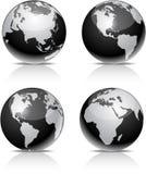 Black Earth balls. Four black high-detailed earth balls. Vector Stock Photography