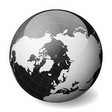 Black Earth globe focused on Arctica. With thin white meridians and parallels. 3D glossy sphere vector illustration.  Stock Photo