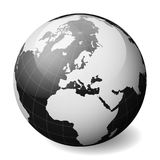 Black Earth globe focused on Europe. With thin white meridians and parallels. 3D glossy sphere vector illustration.  stock illustration