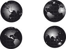 Black earth globe set Royalty Free Stock Photo