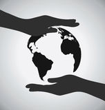 Black Earth On Hands Icon, Save The Earth Concept Stock Photos