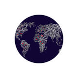 Black earth. Linear world map. Red lights capitals. World Atlas. Stock Images