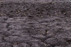 Black earth soil. Horizontal frame royalty free stock photo
