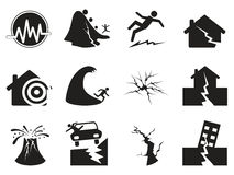 Black earthquake icons set Stock Photos