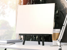 Black easel with blank frame. 3d rendering Stock Image