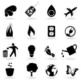 Black eco icons Stock Image