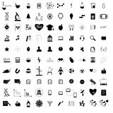 100 black education icons set. Isolated on a white vector illustration