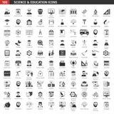 Black Education Icons Set Stock Photo