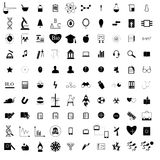 100 black education icons set. On a white Stock Photography
