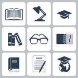 Black education icons set on white Stock Images