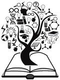 Black education icons tree up from book Stock Photography
