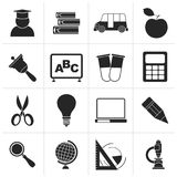 Black education and school icons. Vector icon set Stock Photography