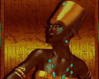 Black Egyptian Goddess Queen. Royalty Free Stock Images