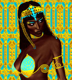 Black Egyptian princess in our modern digital art style, close up. The beauty, power and wealth of Egypt are captured in this Egyptian digital art fantasy Stock Image
