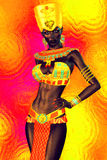 Black Egyptian princess in our modern digital art style, close up. Stock Photo