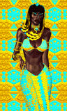 Black Egyptian princess in our modern digital art style, close up. Stock Image