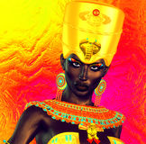 Black Egyptian princess in our modern digital art style, close up. Royalty Free Stock Photo
