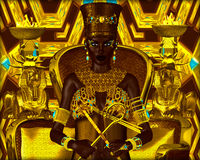 Black Egyptian princess in our modern digital art style, close up Royalty Free Stock Images