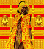 Black Egyptian princess in our modern digital art style, close up. Royalty Free Stock Photos