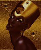 Black Egyptian Queen, beautiful face, gold glitter background. Beautiful black Egyptian queen or pharaoh with gold crown, fashion cosmetics, earrings posing Stock Photography