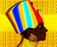 Black Egyptian Queen, beautiful face, hieroglyphics background in stone. Egyptian queen, pharaoh or princess in colorful striped outfit with beads,beauty and Royalty Free Stock Photos