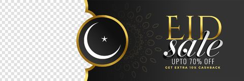 Black eid festival sale banner with image space. Illustration Stock Photo