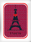 Black Eiffel tower, with red heart Stock Photo