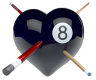 Black eight billiard ball heart with cues. Billiard ball heart, magic eight ball heart shaped with billiard cues pushed through it, 3d rendering on white stock illustration