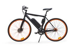 Black electric bike isolated with clipping path. Black electric bike side view. Isolated on white, clipping path included stock image