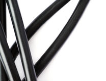 Black electric computer cable isolated over white background Royalty Free Stock Image
