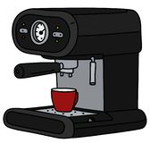 The black electric espresso maker. The vectorized hand drawing of a black electric espresso maker and the red coffee cup vector illustration