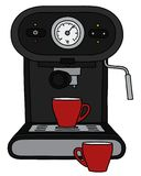 The black electric espresso maker. The vectorized hand drawing of a black electric espresso maker and two red cups stock illustration