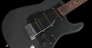 Black Electric Guitar Closeup. On Dark Background Vector Illustration