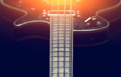 Black electric guitar. Black electric guitar cloze up Stock Photo