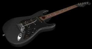 Black Electric Guitar. On Dark Background Royalty Free Illustration