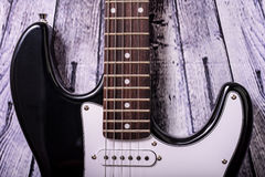 Black electric guitar Royalty Free Stock Images