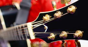 Black electric guitar headstock Royalty Free Stock Images