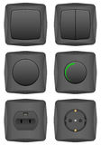 Black electric switch set Royalty Free Stock Photography