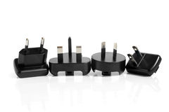 Black electrical adapters Stock Photography