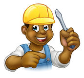 Black Electrician Handyman With Screwdriver Stock Photos