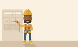 Black electrician repairing an electrical panel Royalty Free Stock Photo