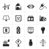 Black electricity, power and energy icons. Vector icon set Royalty Free Stock Photo