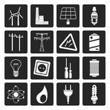 Black Electricity, power and energy icons. Vector icon set Stock Image