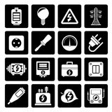 Black Electricity, power and energy icons. Vector icon set Stock Photos