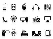 Black electronic icons set Stock Images