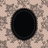 Black elegant doily on lace background Stock Photo