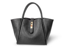 Black elegant leather ladies handbag Stock Photo